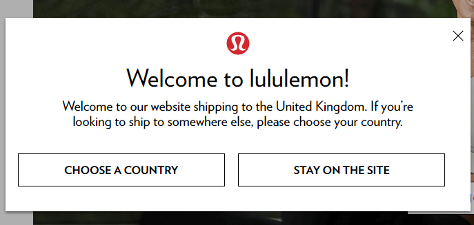Lululemon: Show Items That Ship to the User's Location