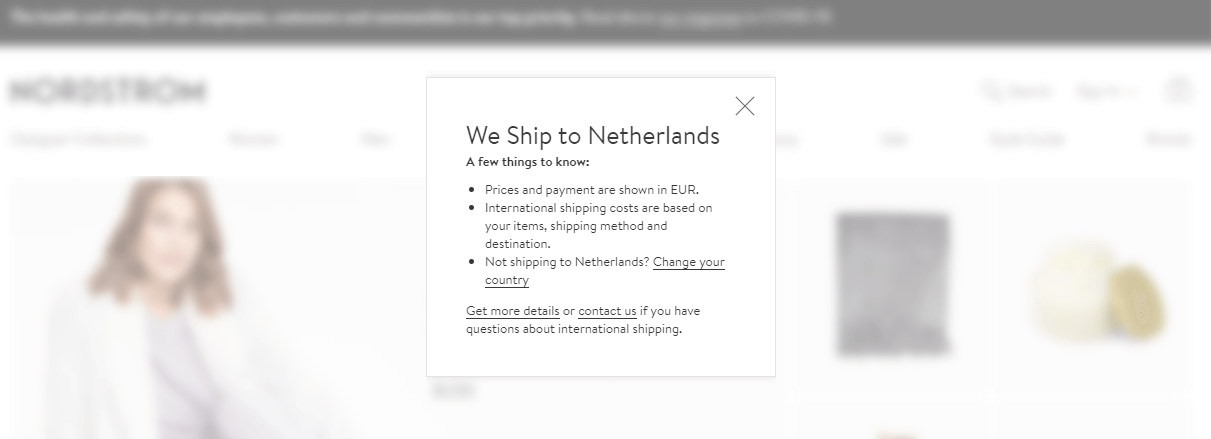 Nordstrom: Show Items That Ship to the User's Location