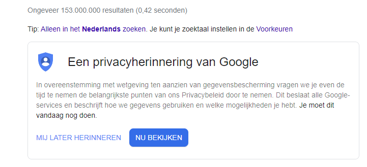 The site automatically shows search results and the Internet giant's privacy policy in the user's language